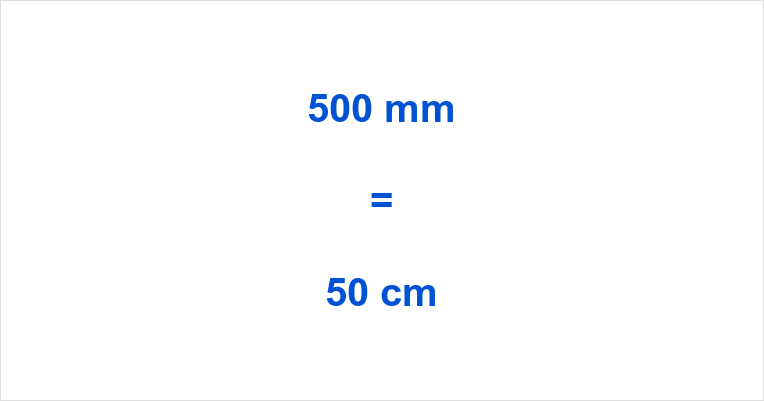 500 mm to cm