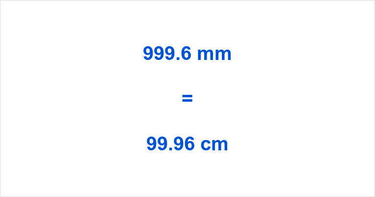 999.6 mm to cm