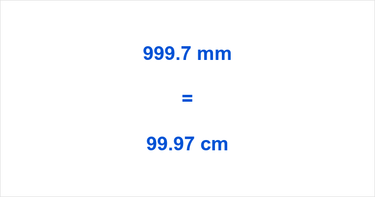 999.7 mm to cm